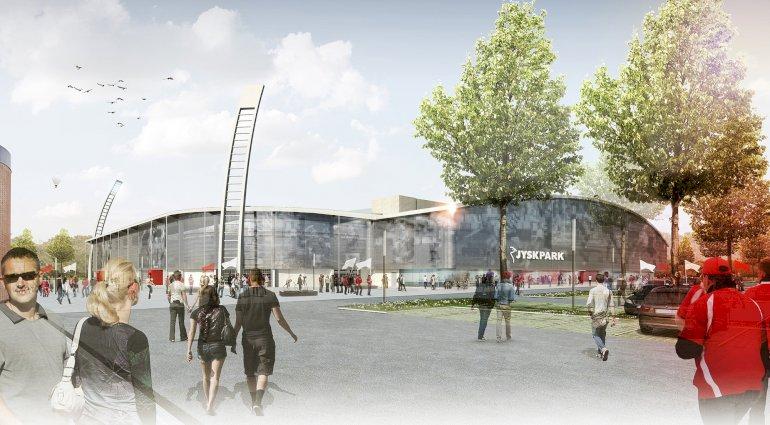 Det nye stadion i Silkeborg JYSK Park bliver ifølge borgmester Steen Vindum det mest moderne i Danmark. Det forventes at stå klar til superligabold i 2016. Ti millioner kroner af finansieringen kommer fra JYSK-koncernen, der har betalt for stadionnavnet.  Foto: presse
