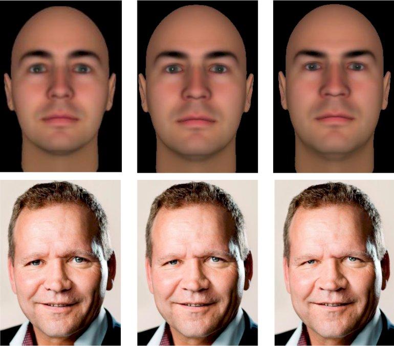 Paneldeltagere blev i en undersøgelse bedt om at forholde sig til to ansigter med forskellige udtryk varierende fra ikke-dominant (venstre) og neutralt (midten) til dominant (højre). Øverst et computergenereret ansigt og nederst et manipuleret foto af folketingspolitikeren Troels Ravn (S). Foto:  Forlaget Politica