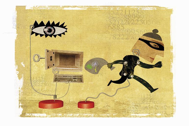 Flere kommuner er i den seneste tid blevet offer for såkaldt ransomware, der fastfryser hjemmesider med krav om 'løsepenge' for at fjerne den virtuelle lås. At det kan lade sig gøre, skyldes i høj grad medarbejdernes uvidenhed, mener kritikerne. Illustration: Guido Rosa / Polfoto