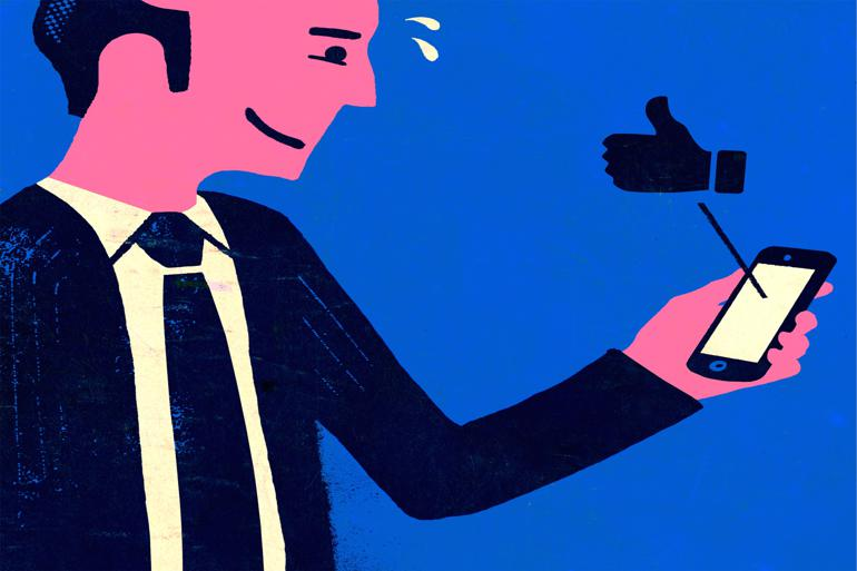 Også de sociale medier lægger nyt pres på kommunaldirektørerne. Illustration: Flemming Dupont