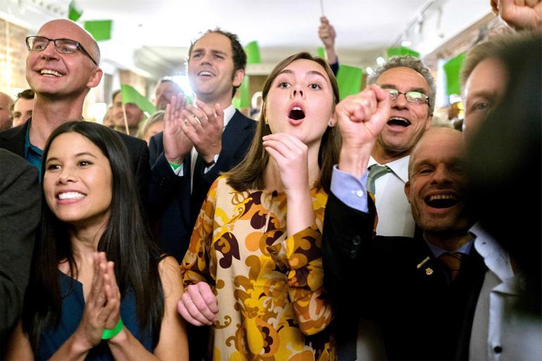 Ikke engang Miljøpartiet De Grønne selv havde forventet så stor fremgang, som de fik ved kommunalvalget i Oslo. Nu står de med magten til at vælge, hvem der skal bestemme i bystyret de næste fire år, og der skal klima-sager på bordet for at få den. Foto: Scanpix
