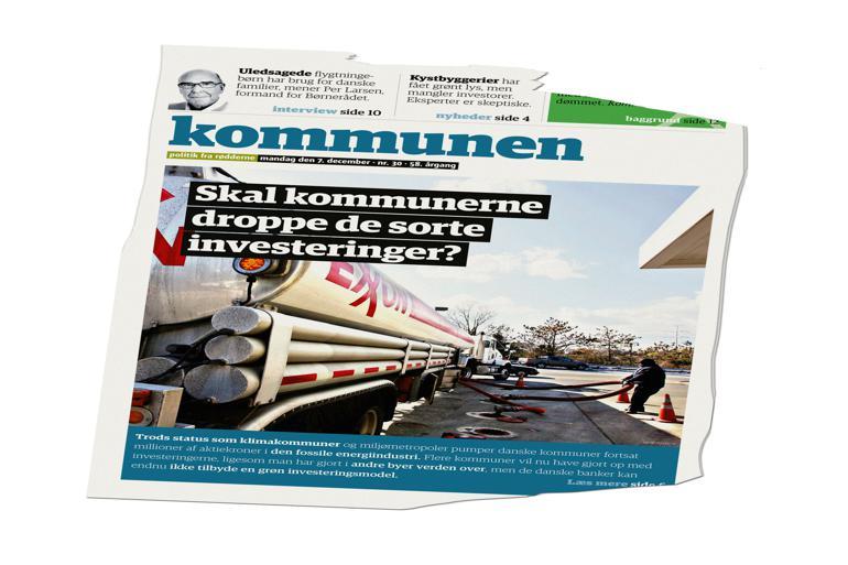 Kommunen beskrev i december, hvordan kommuner tvinges til at investere i olie og andre fossile brændstoffer, fordi danske banker - ulig banker i eksempelvis Sverige - ikke tilbyder alternative grønne investeringsmuligheder.