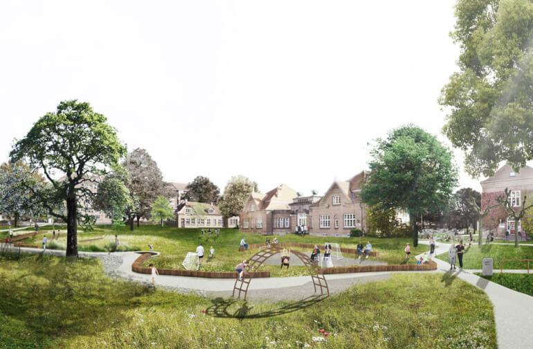 Pladsen foran det tidligere Marselisborg Hospital tæt på centrum af Aarhus er under forvandling i øjeblikket, hvor området bliver til grøn oase og Verdens første SPARK-Park, som forener Sundhed, Park, Aktiviteter, Rehabilitering og Klimatilpasning.