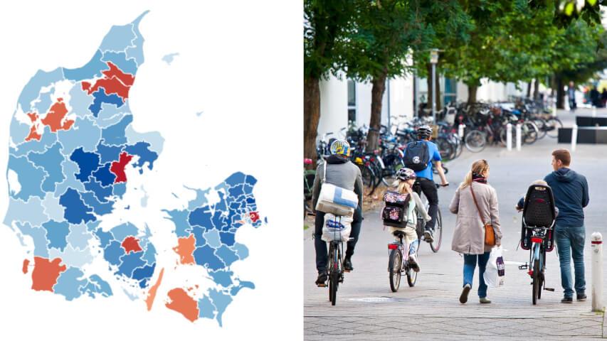 Særligt kommuner omkring København og Aarhus ser voksende tilflytning af børnefamilier. Men de seneste år er familierne også begyndt at flytte længere væk fra de store kommuner.
